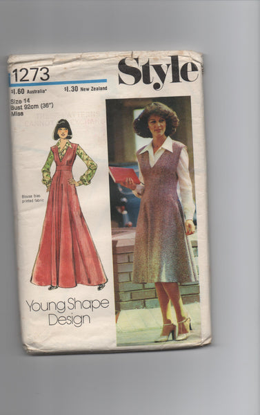 Style 1273 vintage 1970s pinafore pattern