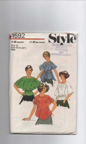 Style 1592 vintage 1970s tops pattern
