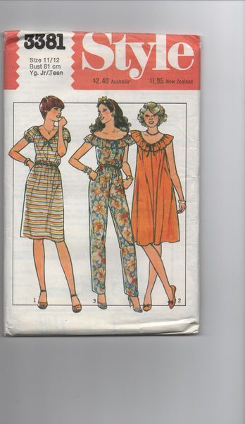 Style 3381 vintage 1970s teens dress and jumpsuit pattern