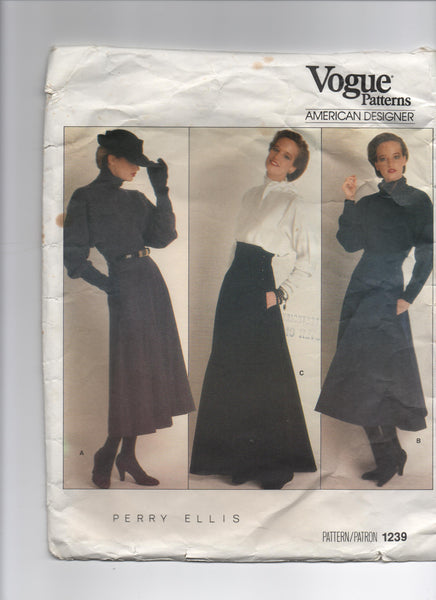 Vogue vintage sewing pattern Designer Original 1239; 1987; Perry Ellis