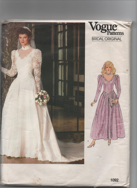 Vogue 1092 vintage 1980s vogue bridal original bridal dress pattern