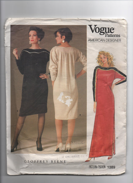 Vogue 1389 vintage sewing pattern Designer Original 1985; Geoffery Beene
