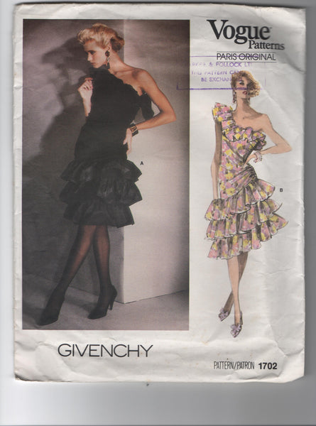 Vogue 1702. Vintage 1980s sewing pattern. Vogue Paris original. Givenchy.