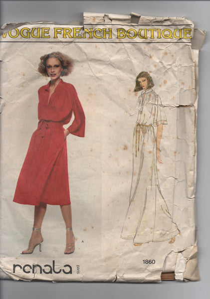 Vogue vintage dress sewing pattern Vogue French  Boutiquel 1860; ca. 1979; Renata