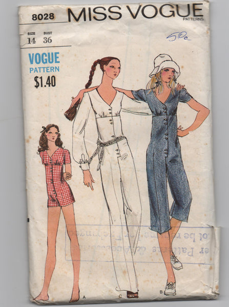 Vogue 8028 vintage 1970s jumpsuit pattern
