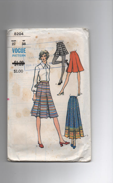 Vogue 8204 vintage 1970s skirt pattern