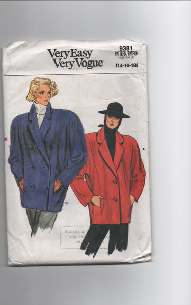 Vogue 9381 vintage 1980s jacket sewing pattern