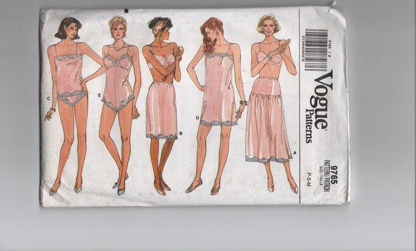 Vogue 9765 vintage 1980s slip, camisole, teddy, half-slip, panties sewing pattern