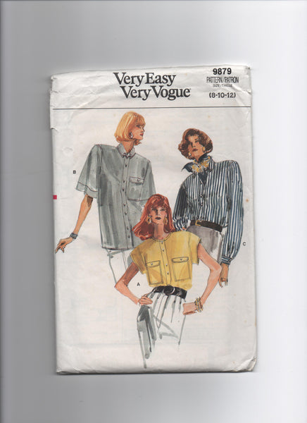 Vogue 9879 vintage 1980s blouse sewing pattern