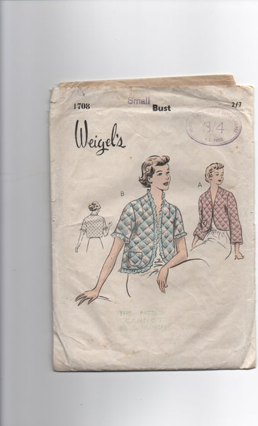 Weigel's 1708 vintage circa 1950s dressing jacket bed jacket sewing pattern