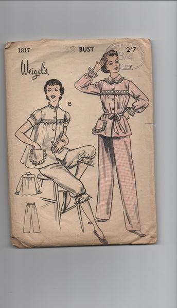 Weigel's 1817 vintage 1950s pyjamas sewing pattern