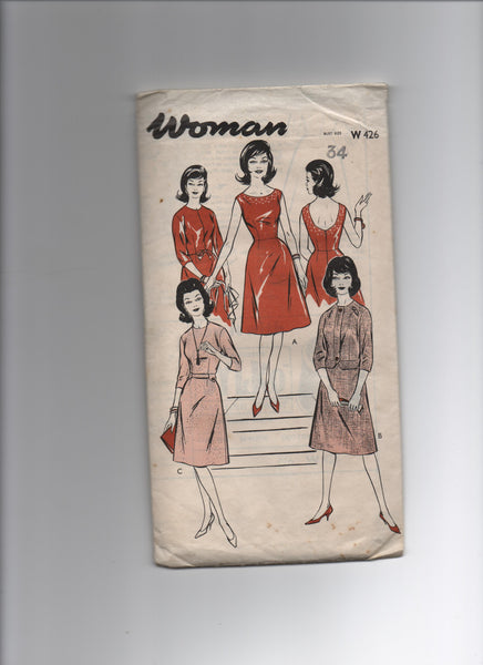 Woman w 426 vintage  1960s dress and jacket sewing pattern