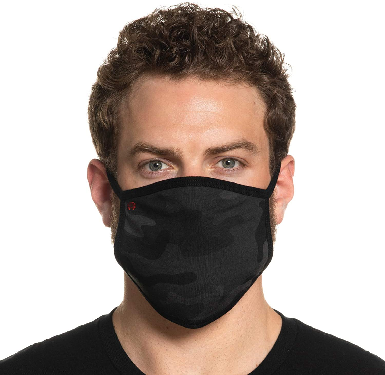 Secret Artist Non-Pleated Black Camo/Black Reversible Cloth Face Mask
