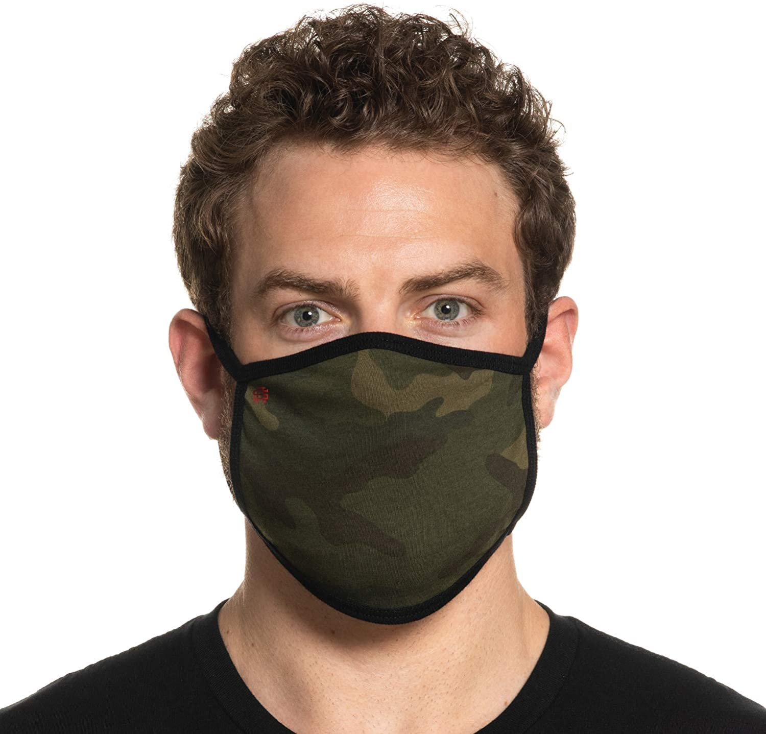 Secret Artist Non-Pleated Green Camo/Black Reversible Cloth Face Mask