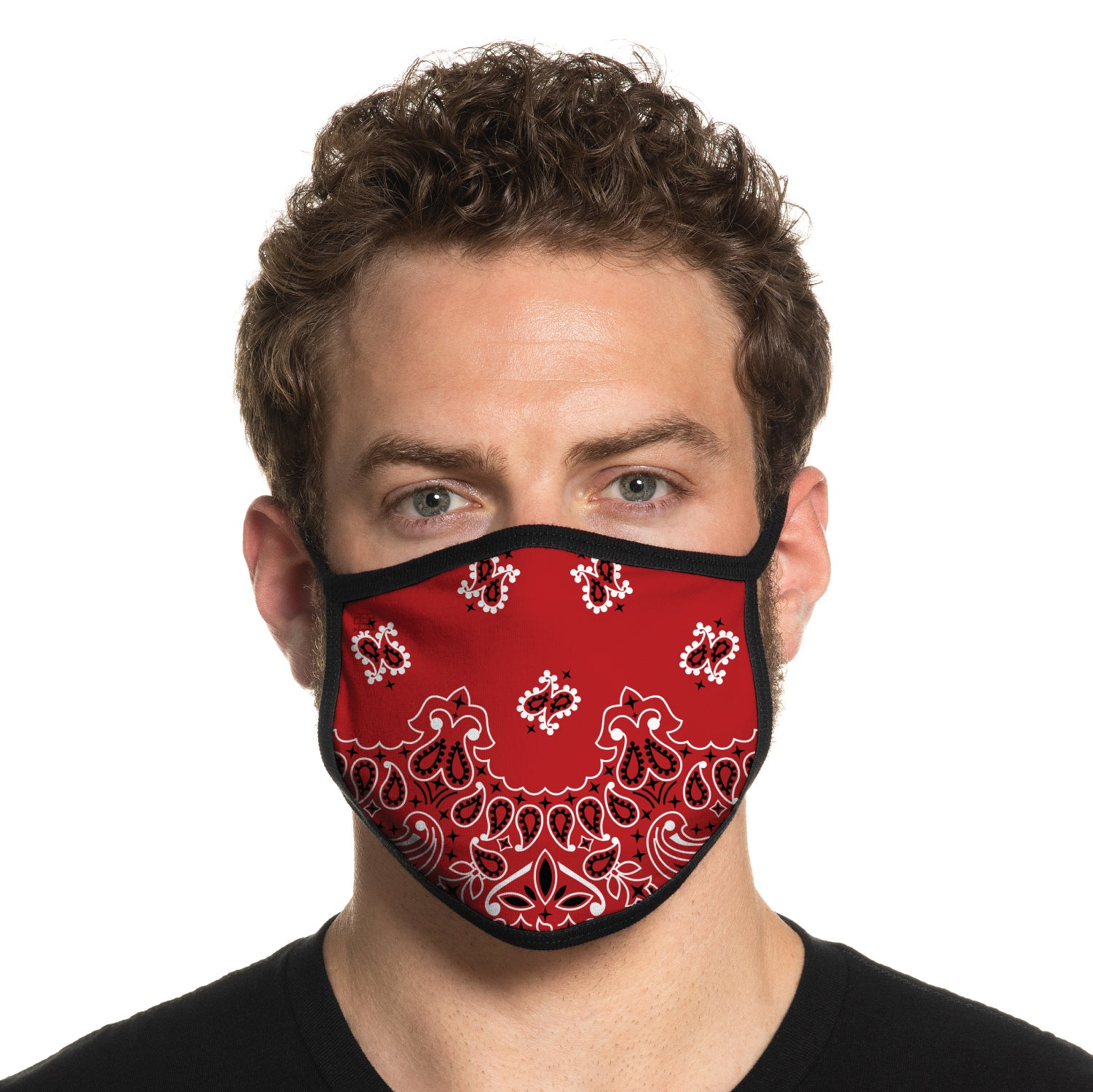Secret Artist Non-Pleated Western Red  Reversible Cloth Face Mask