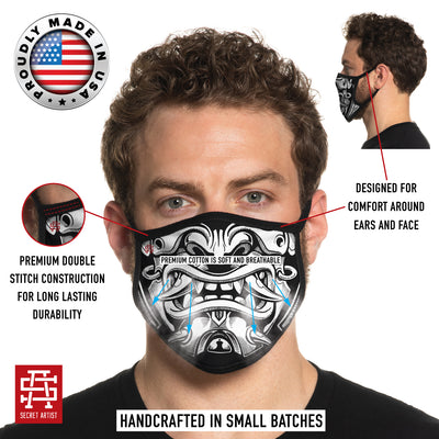 Secret Artist Assorted Graphic 3-Pack Non-Pleated Cloth Face Masks