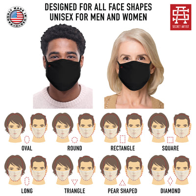 Secret Artist Assorted 5-Pack Non-Pleated Graphic/Black Reversible Cloth Face Masks