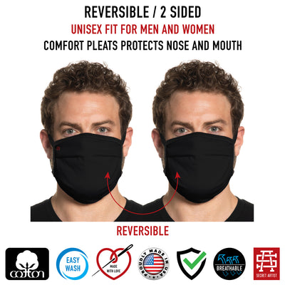 Secret Artist Pleated Black/Black Reverisble Cloth Face Mask