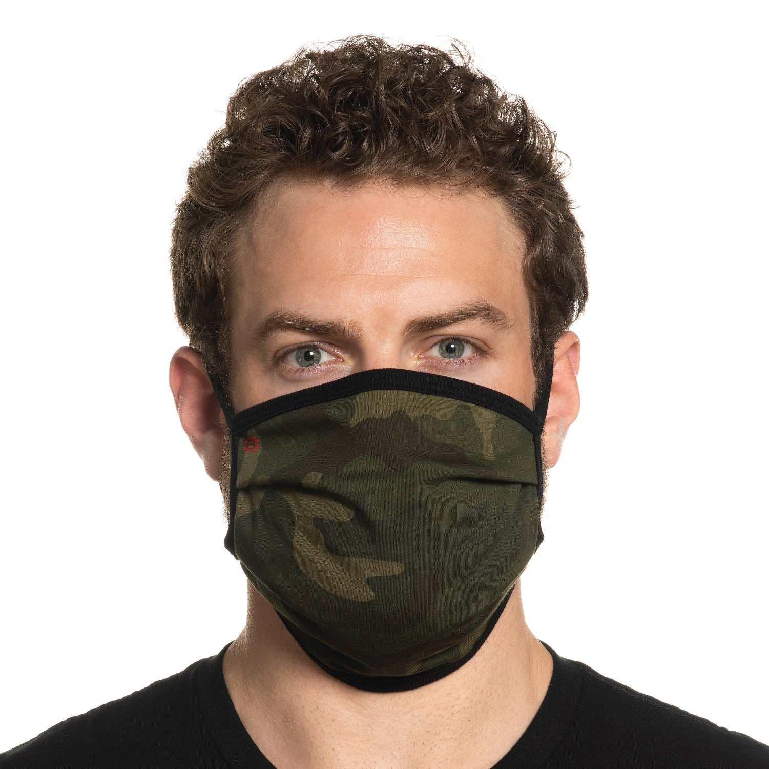 Secret Artist Pleated Green Camo/Black Reversible Cloth Face Mask