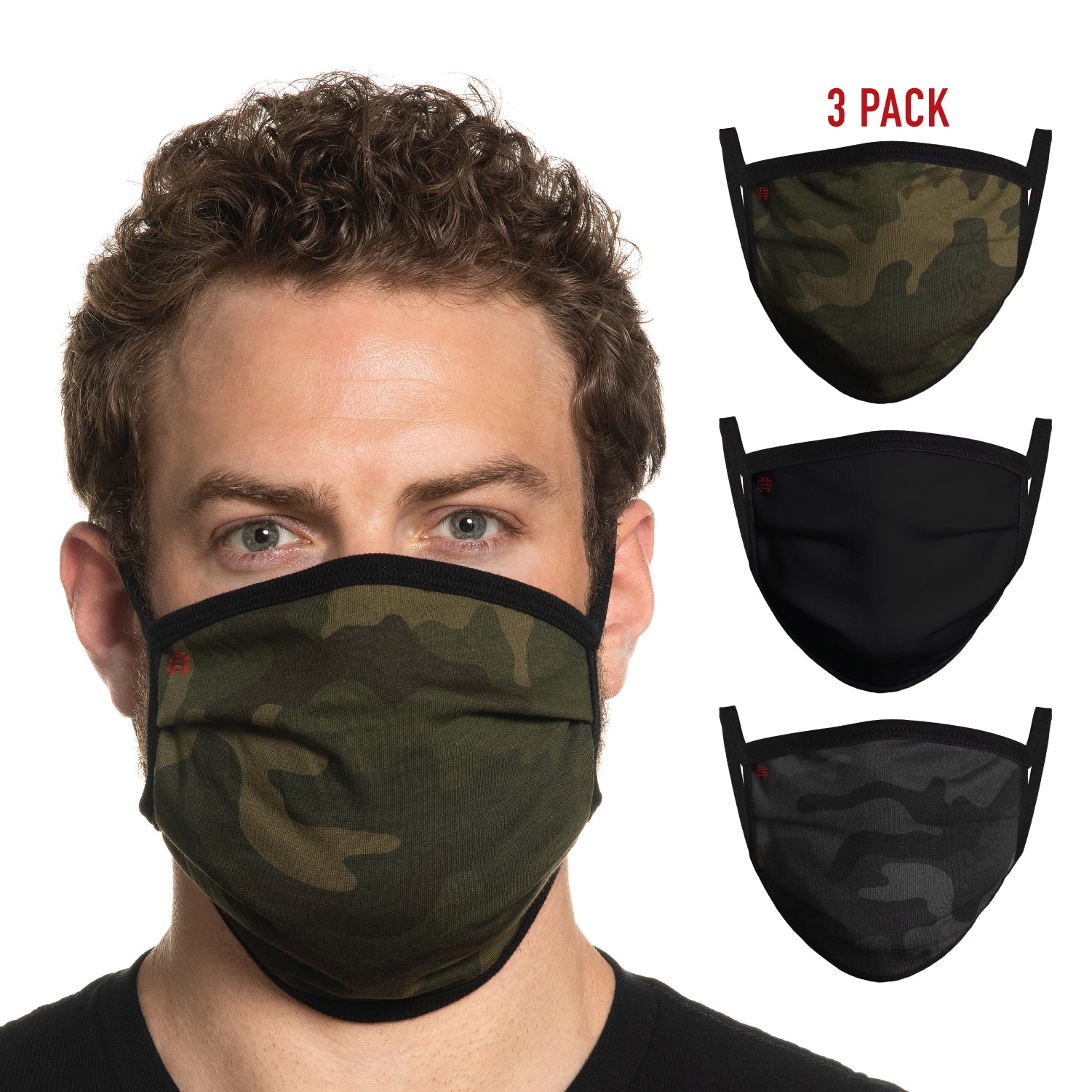 Secret Artist Assorted 3-Pack Pleated Camo/Black Reversible Cloth Face Mask
