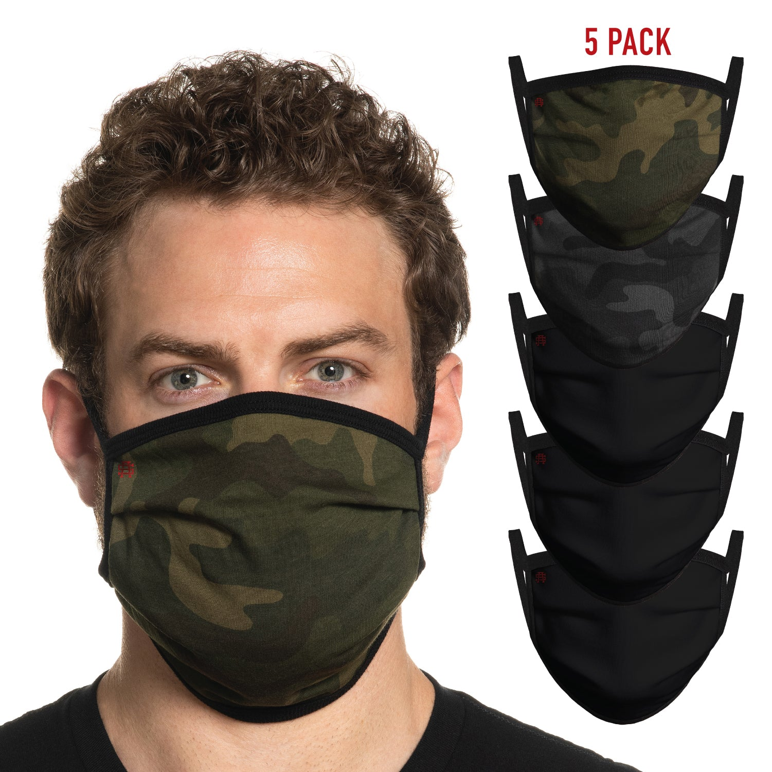 Secret Artist Assorted 5-Pack Pleated Camo/Black Reversible Cloth Face Mask