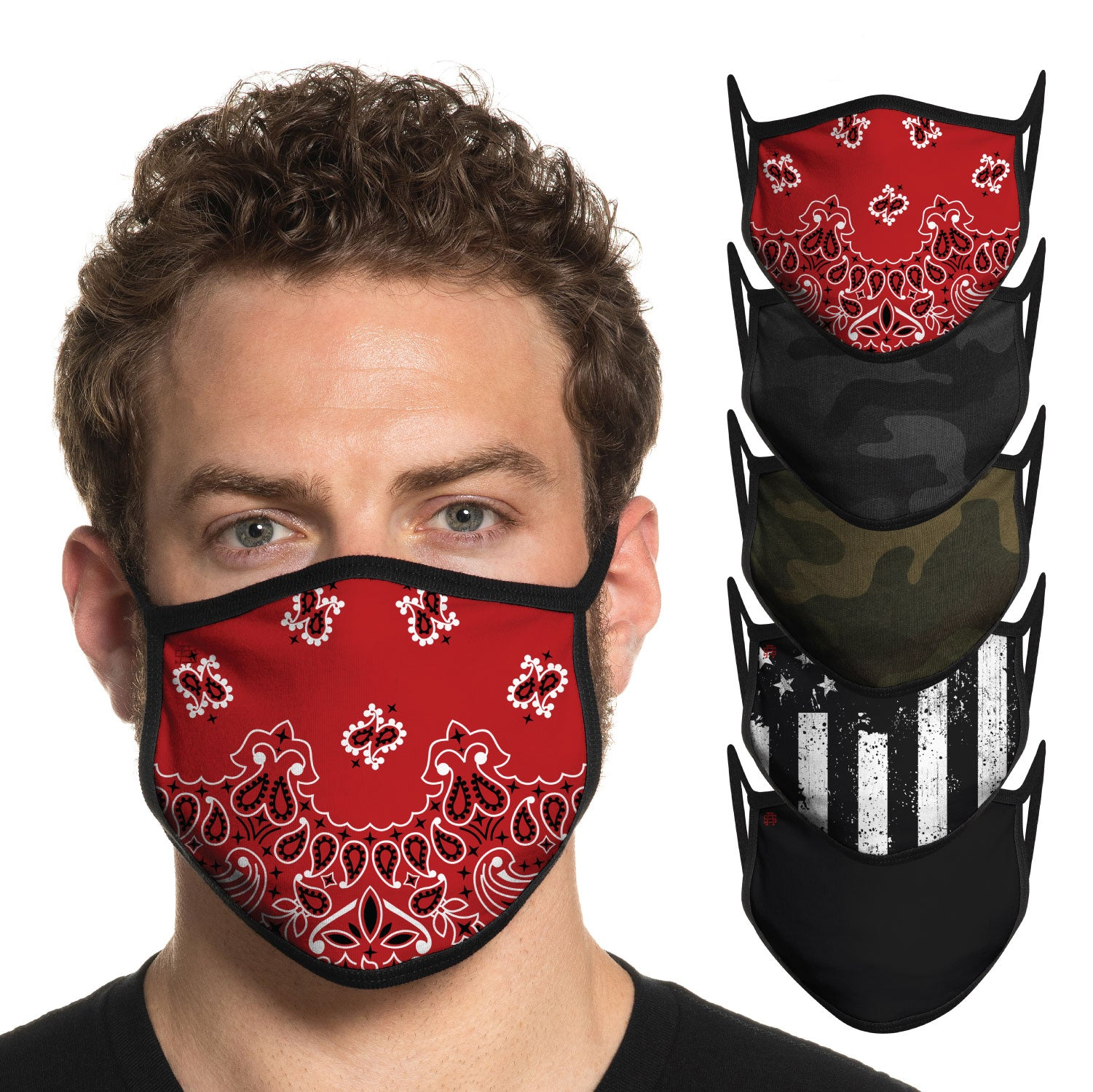 Secret Artist Assorted 5-Pack Non-Pleated Graphic/Black Reversible Cloth Face Mask