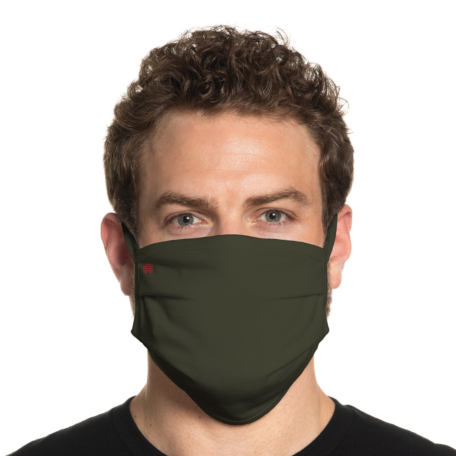 Secret Artist Pleated Military Green/Black Reversible Cloth Face Mask