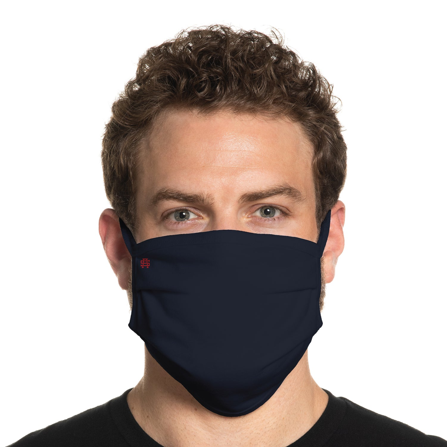 Secret Artist Pleated Navy Blue/Black Reversible Cloth Face Mask