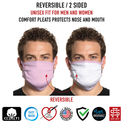 Secret Artist Pleated Pink/White Reversible Cloth Face Mask