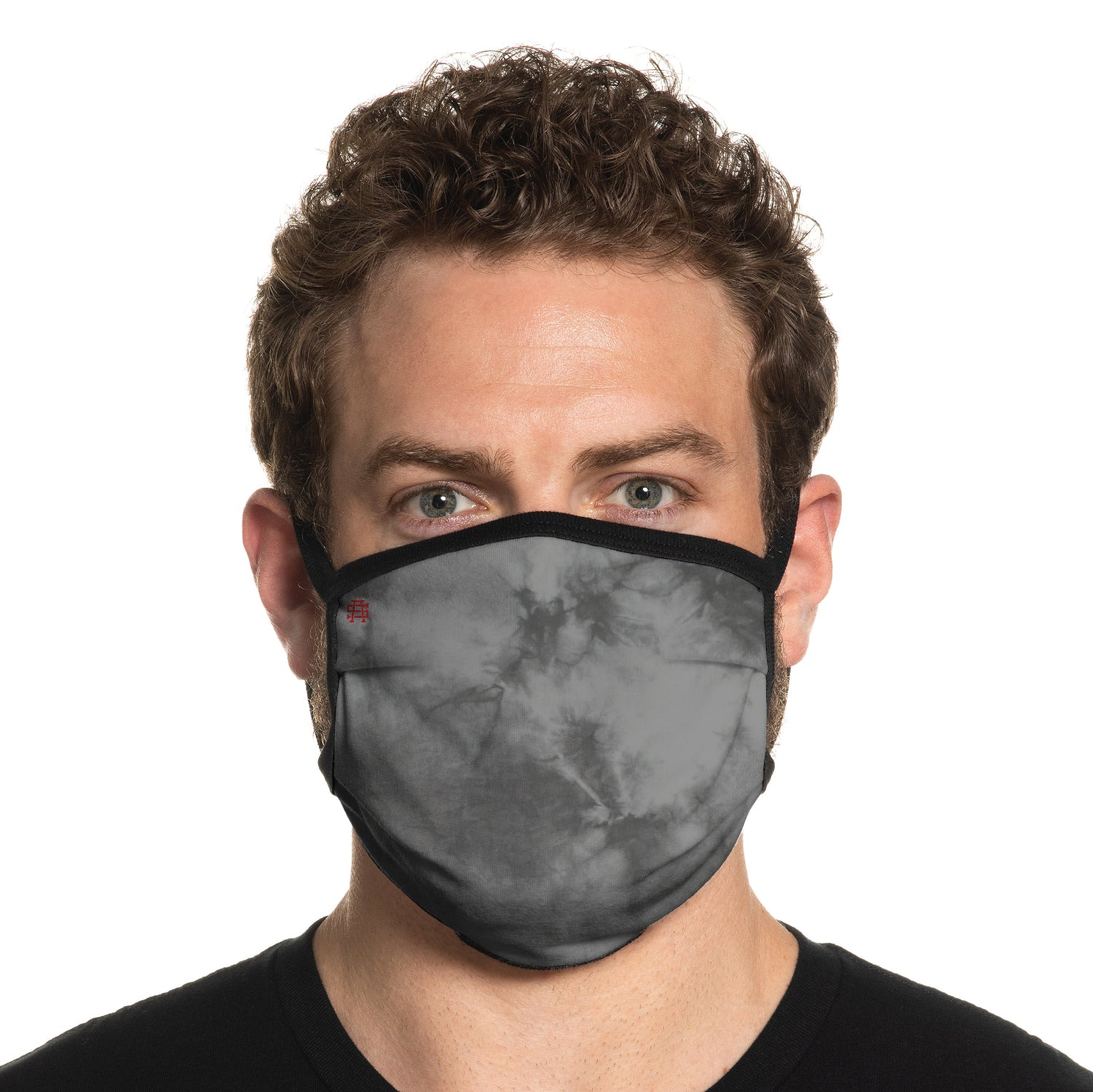 Secret Artist Pleated Grey Storm Tie Dye/Black Reversible Cloth Face Mask