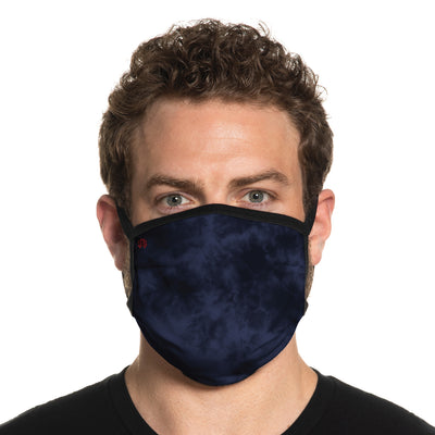 Secret Artist Pleated Teal Navy Tie Dye/Black Reversible Cloth Face Mask