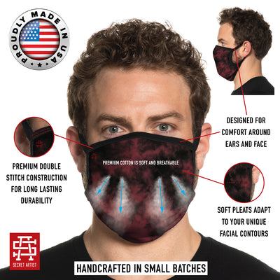 Secret Artist Pleated Burgundy Black Tie Dye/Black Reversible Cloth Face Mask
