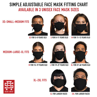 Secret Artist Pleated Red/Black Reversible Cloth Face Mask