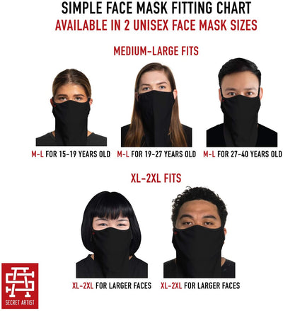 Secret Artist Western Black/Black Reversible Cloth Bandana Face Mask