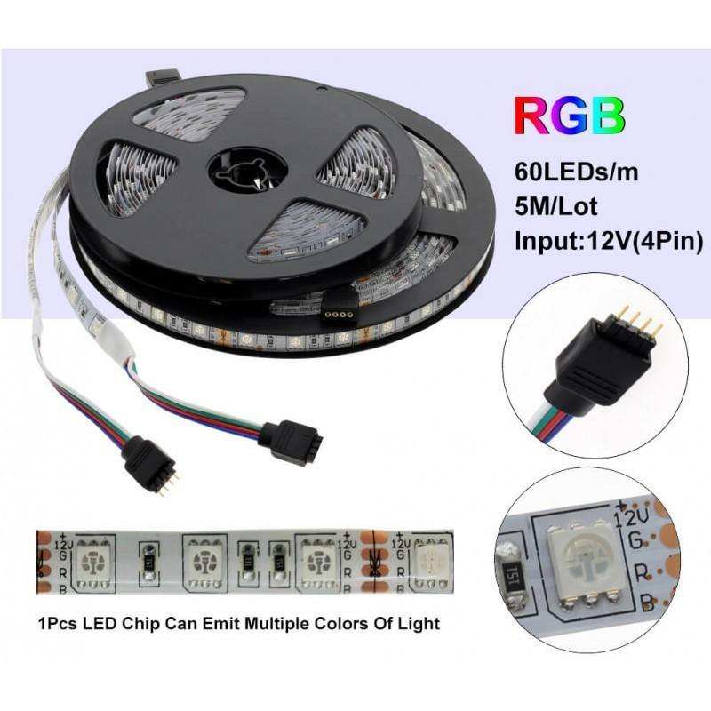 BANDA LED RGB 5050 - 60LED/M INTERIOR IP20- DC 12V 14,4W/ML , 5M/ROLA