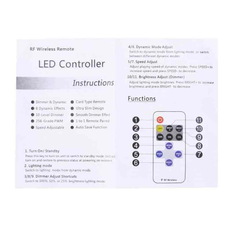 CONTROLER BANDA LED MONOCOLORA, RF WIRELESS 11TASTE