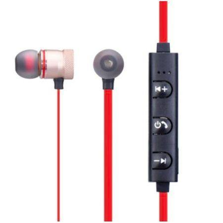 Casti Bluetooth Sport M5, wireless, Prindere Magnetica, In-ear cu Microfon, rosu