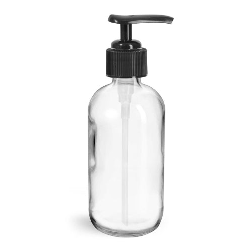Glass Pump Bottle (8 oz) Clear