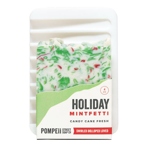 Holiday Peppermint Soap Bar + Soap Dish