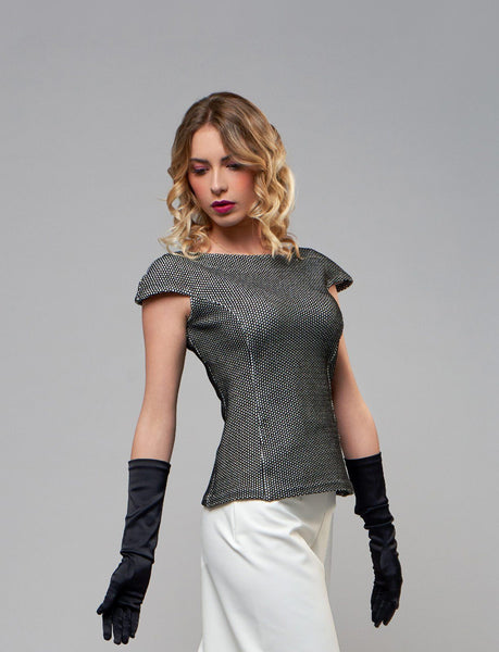 Passepartout - Top con Manica a Conchiglia top 322Couture 42 - Prototipo Bianco & Nero