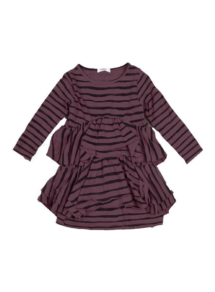 Kaori Rough Stripe Layered Dress - Dark Plum