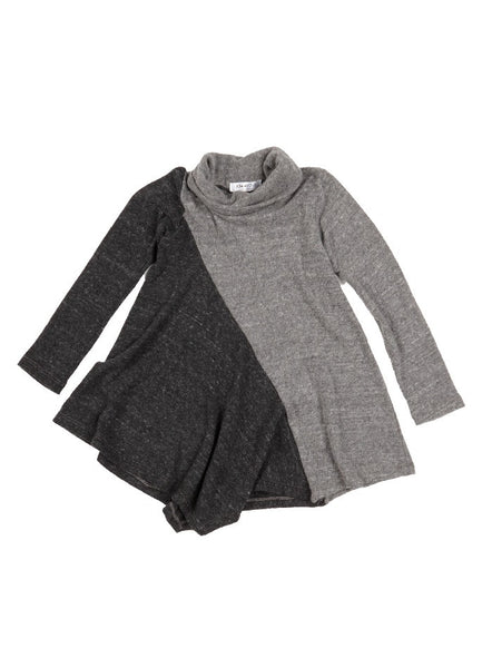 Paris Faux Cashmere Draped Neck Tunic - Charcoal/Heather Grey