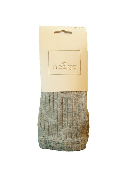 Girls Ribbed Tights - Heather Grey