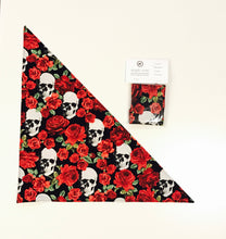 Load image into Gallery viewer, Skulls and Roses Dog Bandana