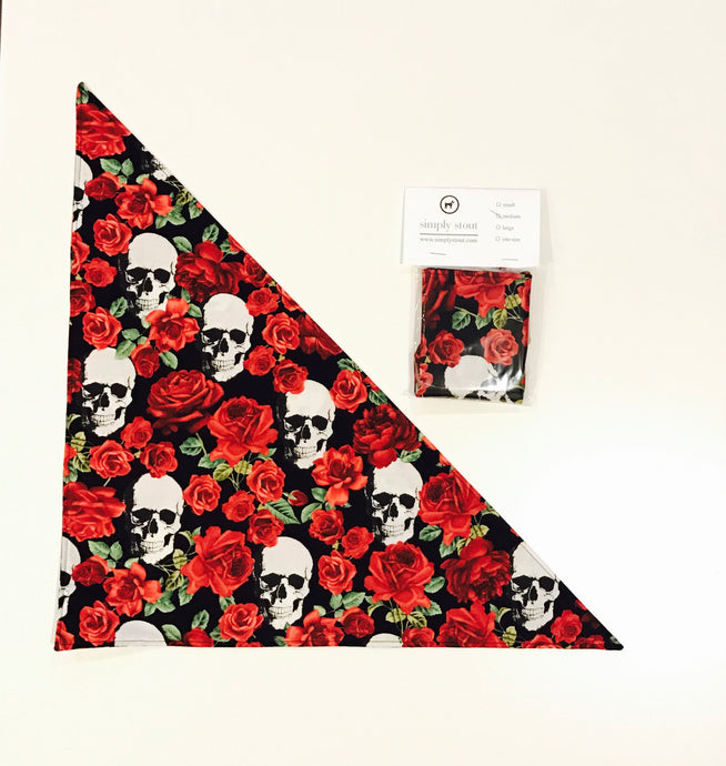 Skulls and Roses Dog Bandana