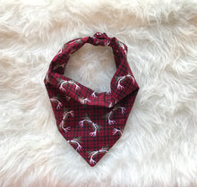Load image into Gallery viewer, Holiday Dog Bandana - Red Plaid Antlers