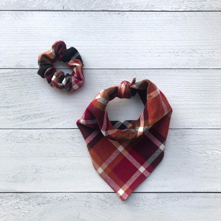 Dog Bandanna Scrunchie Set - Autumn Leaves