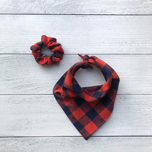 Dog Bandana Scrunchie Set- Pumpkin Spice