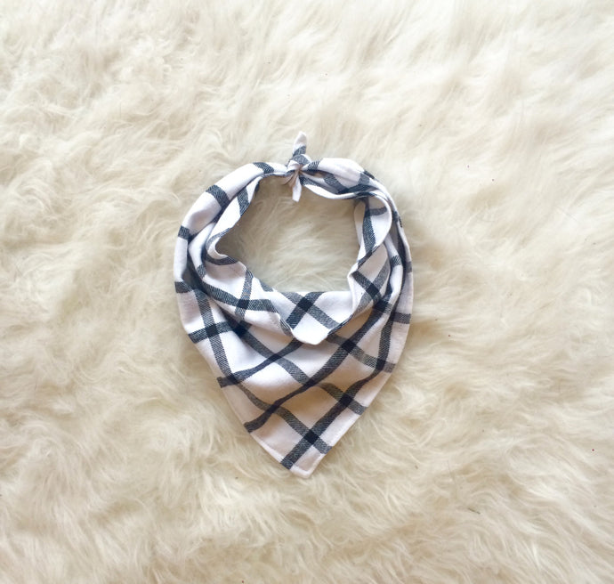 White Plaid Dog Bandana