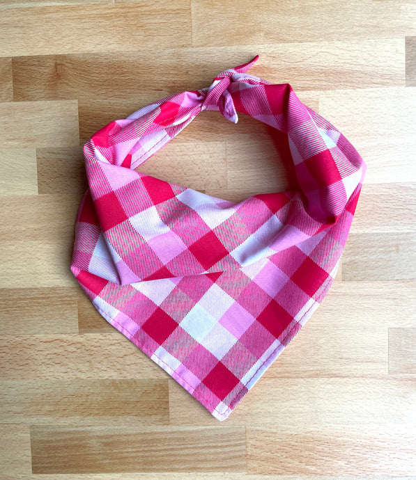 Pink Plaid Valentine Dog Bandana